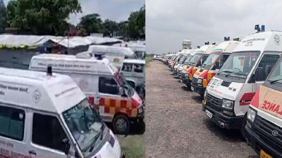 लखनऊ: धरने पर बैठे एंबुलेंस कर्मियों की हड़ताल जारी, सरकार ने दिया 24 घंटे का अल्टीमेटम