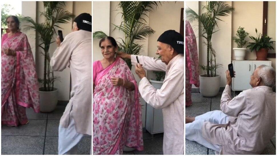 Viral Video: 83 साल के दादा बने Photographer, जमीन पर लेटकर खींचते रहे दादी की तस्वीरें