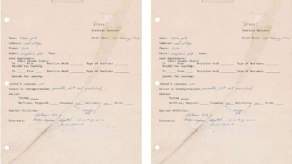 Steve Jobs single job application form