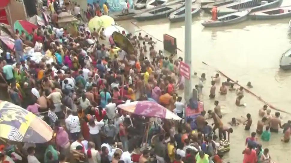 Heavy crowd of devotees seen at Varanasi's Kashi Vishwanath Temple