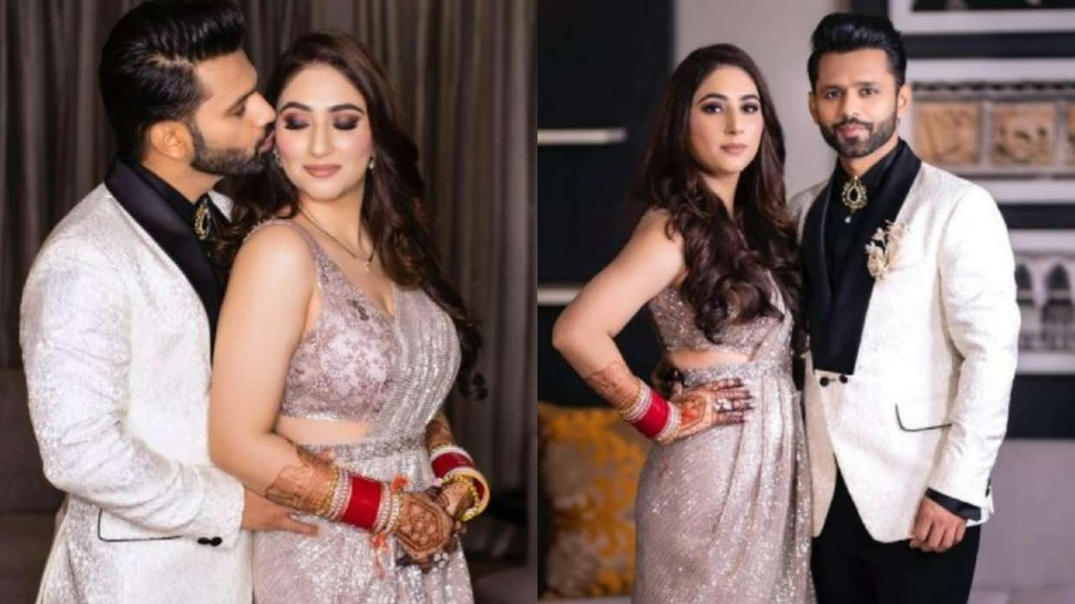 Rahul Vaidya commented on disha parmar photoshoot, disha stole limelight in pink saree |  Rahul Vaidya was blown away after seeing this look of new bride Disha Parmar, made this comment