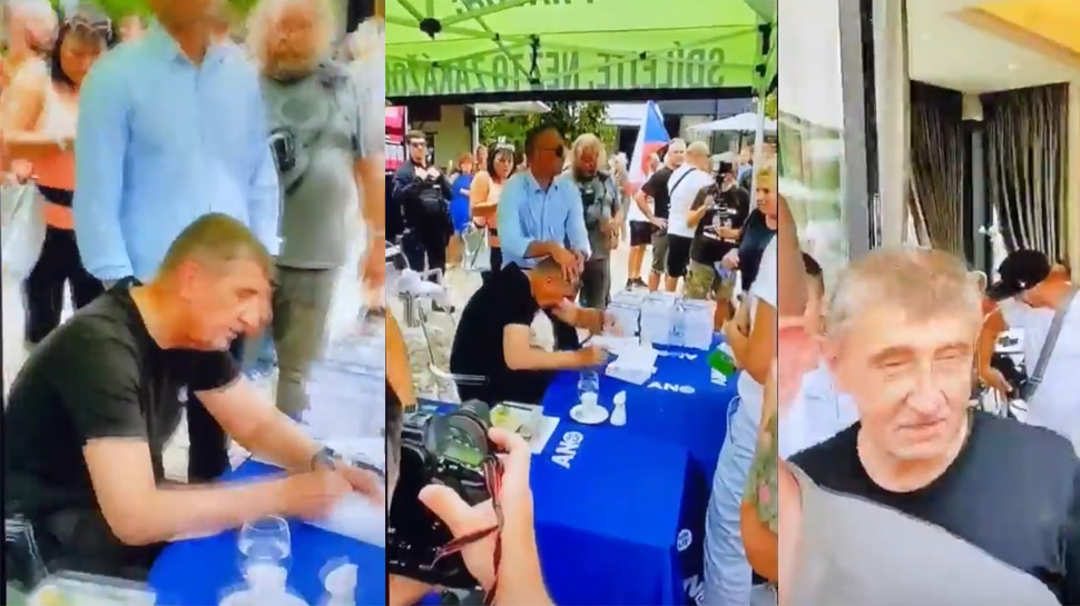Czech Republic prime minister Andrej Babis egged during book fair  Prime  Minister of Czech Republic becomes victim of Egg Attack, man present at  Book Fair attacked, Video Viral – China News