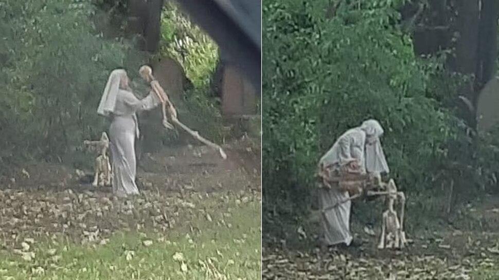 Cemetery में Skeleton के साथ डांस कर रही थी महिला, देखने वालों के उड़े होश; तस्वीरें वायरल