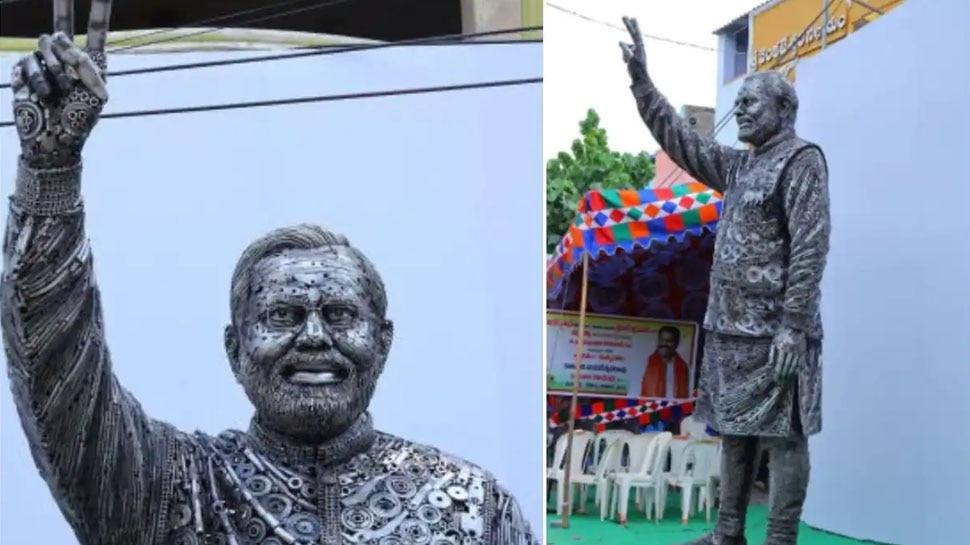 पिता-पुत्र ने लोहे के स्क्रैप से बना दी पीएम मोदी की 14 फीट ऊंची मूर्ति, Bengaluru में गुरुवार को होगी स्थापना
