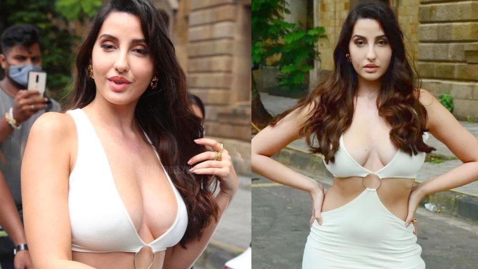 मुंबई की सड़कों पर तापमान बढ़ाने निकलीं नोरा फतेही, कैमरे के सामने ही एडजस्ट करने लगीं ड्रेस
