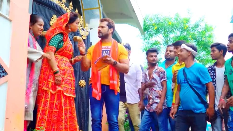 Khesari Lal Yadav New Song De Di Chanda Du Chaar Paisa:नवरात्रि 2021 से पहले चंदा मांगने पहुंचे खेसारी लाल यादव