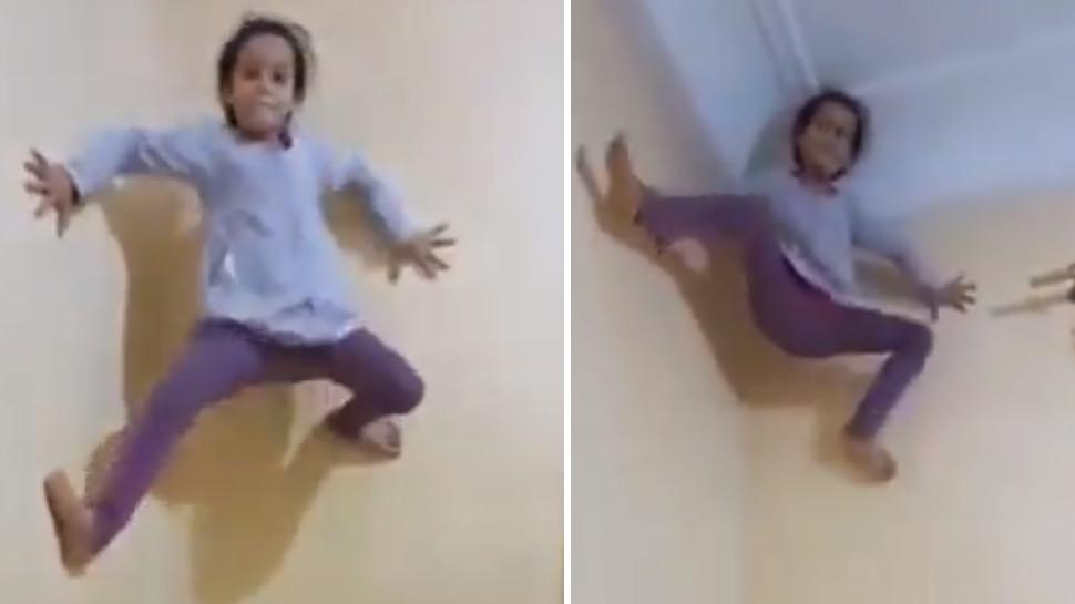 कुछ ही सेकंड में मकड़ी की तरह झट से दीवार पर चढ़ गई ये 'स्पाइडरगर्ल', Video देख डर गए लोग