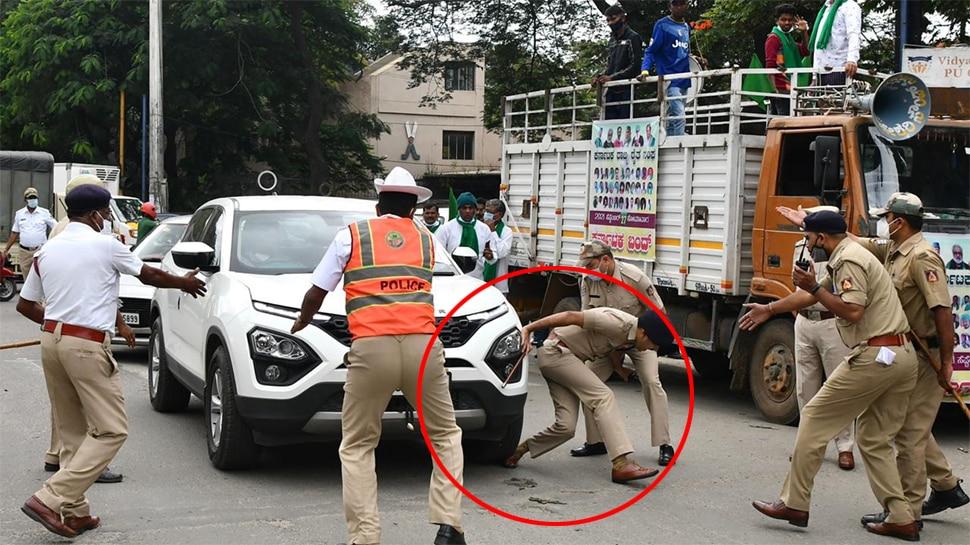 किसानों के भारत बंद के दौरान अमानवीय हरकत, प्रदर्शनकारी ने DCP के पैर पर चढ़ा दी कार
