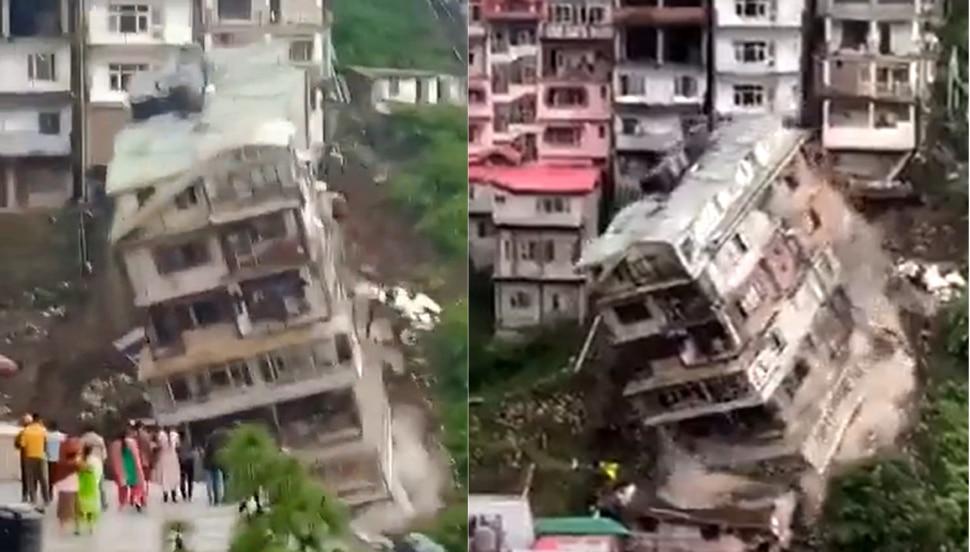 8-stöckiges Gebäude stürzte aufgrund von Bodenrutschen in Shimla ein, Sie werden überrascht sein, VIDEO zu sehen