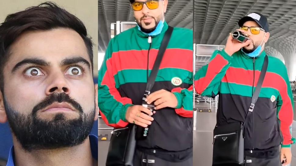 Bollywood Rapper Badshah Showed Off His Black Water At The Airport |  Rapper Badshah was seen drinking black water like Virat Kohli, showed off his sip