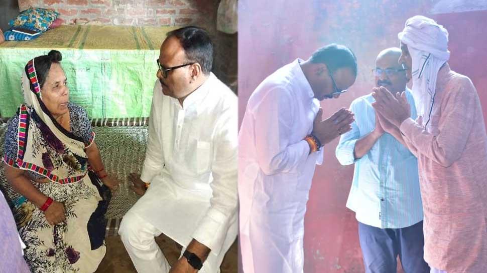 लखीमपुर हिंसा में मारे गए ड्राइवर और BJP कार्यकर्ता के परिवार से मिले कानून मंत्री ब्रजेश पाठक