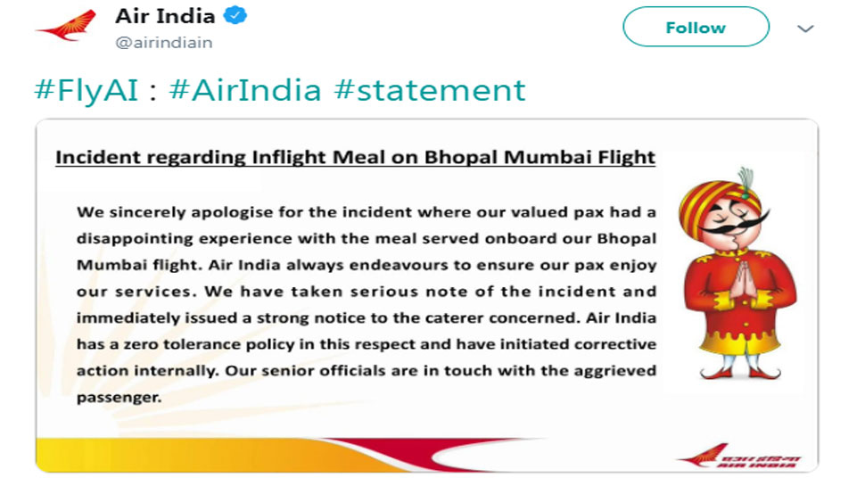 Air India apologizes for traveling on cockroach in food