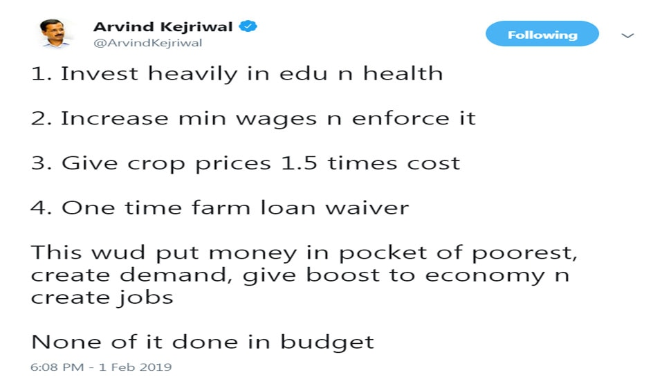 Arvind Kejriwal says Interim Budget of Modi government its 'final jumla'