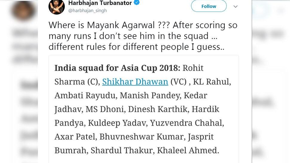 Harbhajan Singh tweet on Maynak selection issue