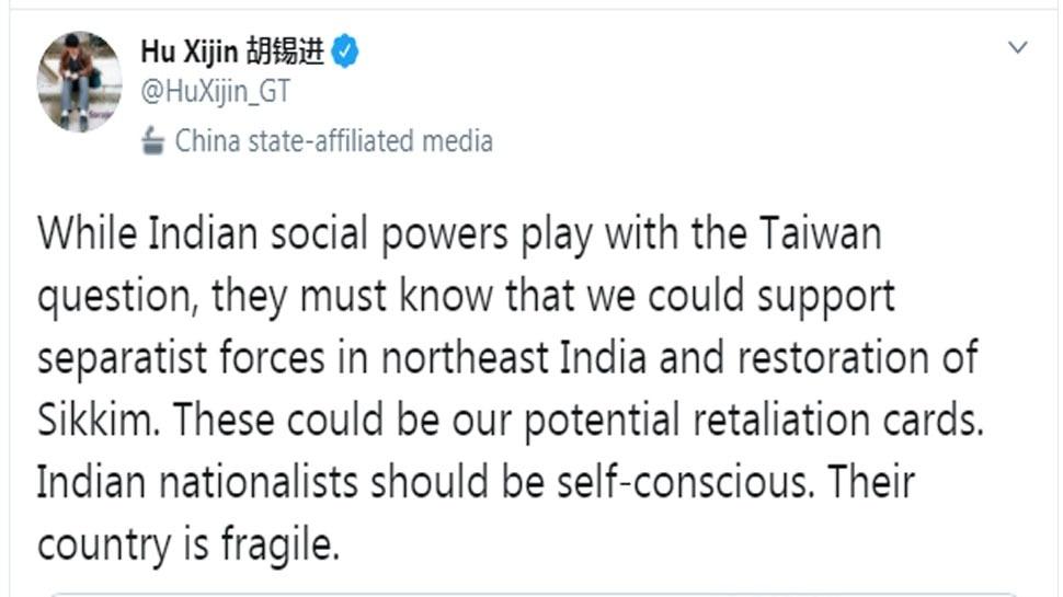 ग्लोबल टाइम्स के संपादक हू शिजिन ने ट्वीट कर भारत को धमकी दी है.