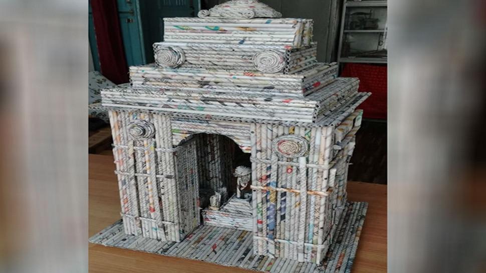 Muzaffarnagar Artist Tushar Sharma made India Gate and Ram Mandir Replica with News Paper Waste