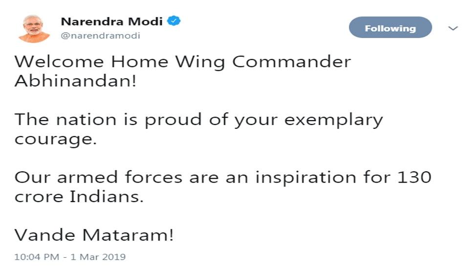 Narendra Modi says Welcome Home Wing Commander Abhinandan