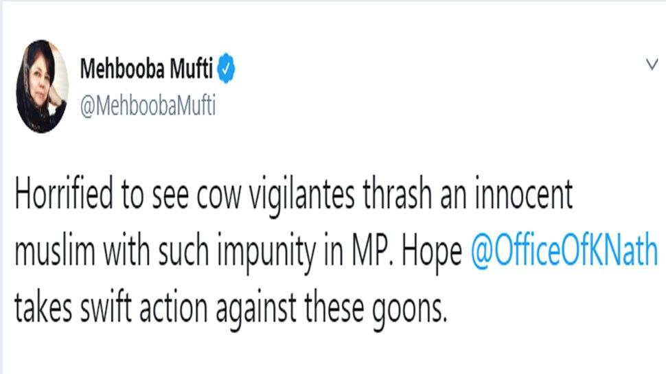 Horrified to see cow vigilantes thrashing innocent men in MP: Mehbooba Mufti