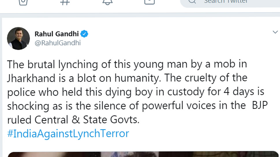 brutal lynching of a young man by a mob in Jharkhand is a blot on humanity: Rahul Gandhi