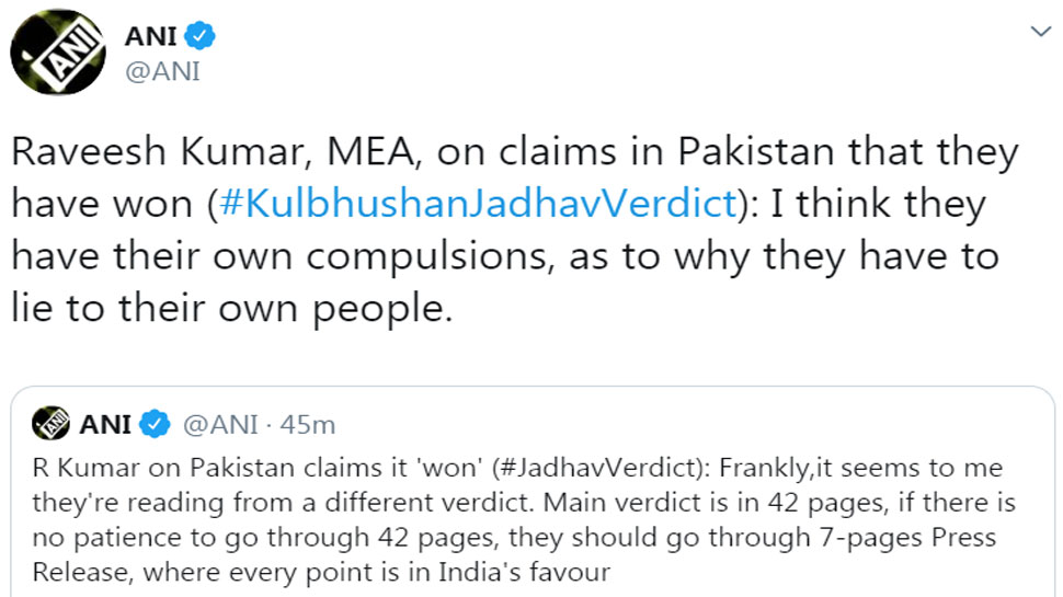 Raveesh Kumar, MEA, says I think pakistan have their own compulsions, as to why they have to lie to their own people