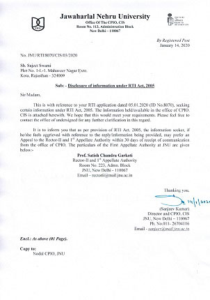 Reply of RTI