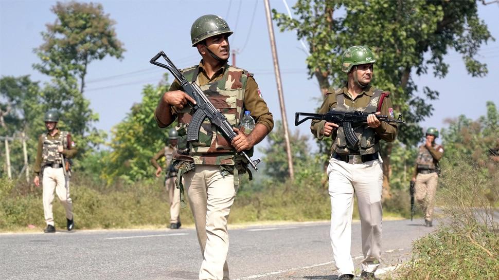 Paramilitary force patrolling at a high alert area near Manika Vidhan Sabha