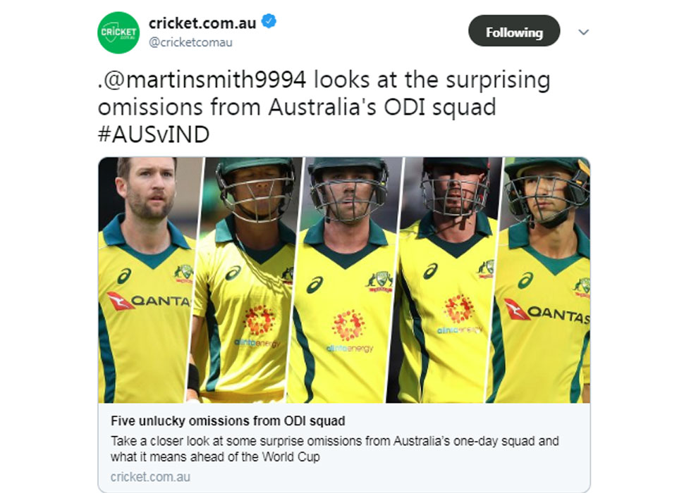 Australia team for ODI series against India declared