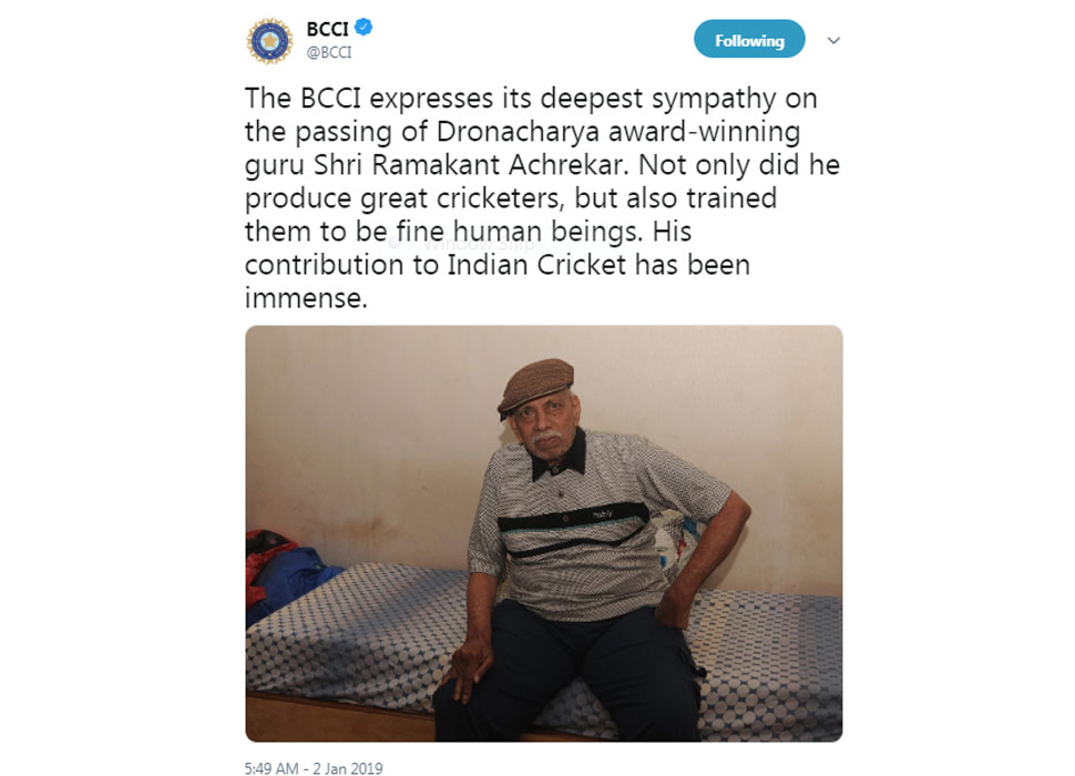 BCCI on Achrekar