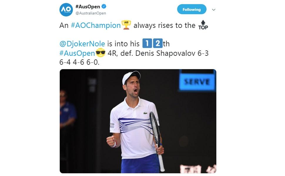 Novac Djokovic enters into Round 4 of Australian Open