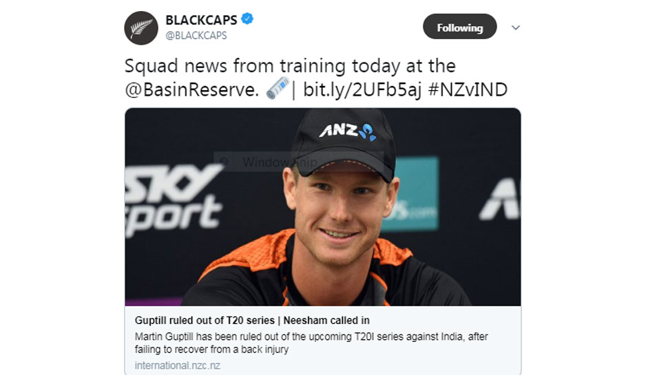 Martin Guptil is out of T20 Series