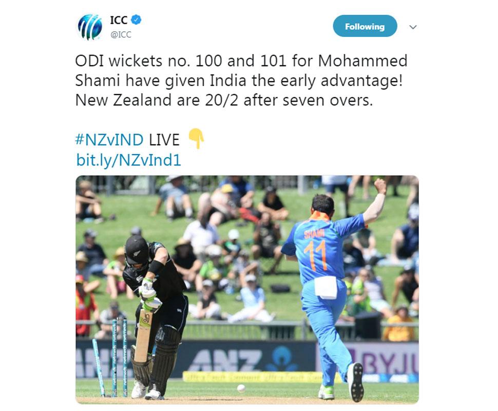 Shmai takes 100 th ODI Wicket