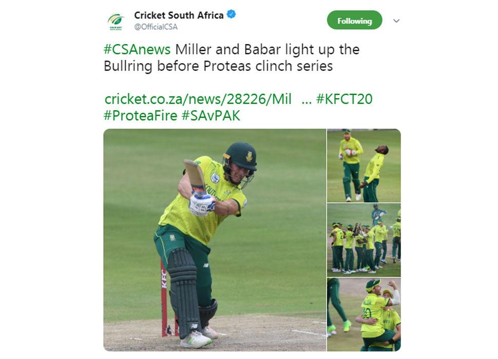 SA wins 2nd T20