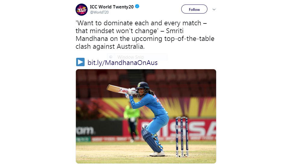 Smriti Mandhana on Ind vs Aus Match