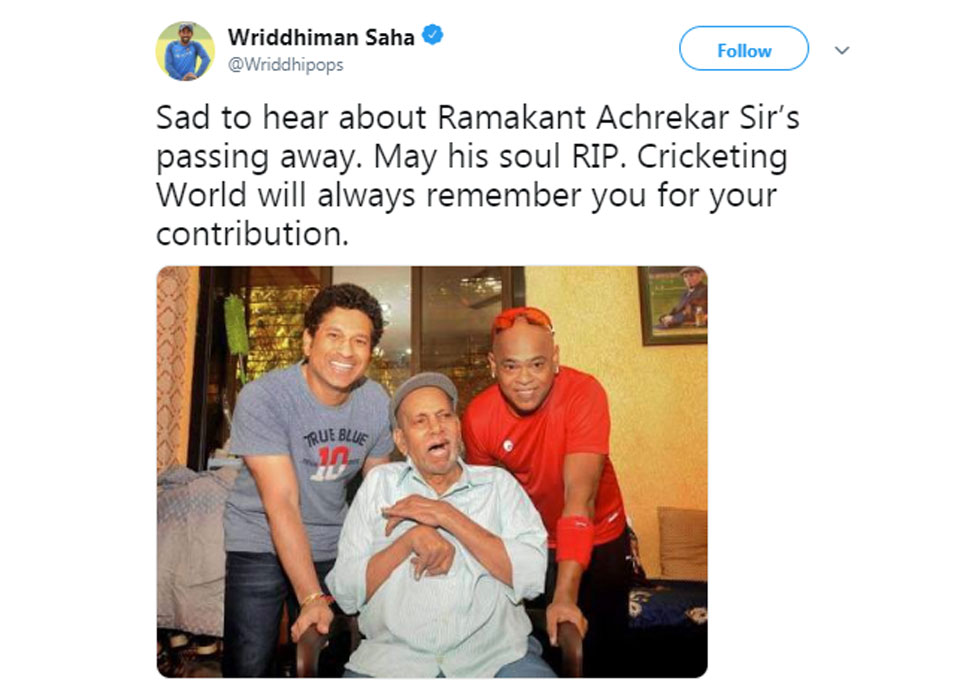 Wriddhiman saha on Achrekar