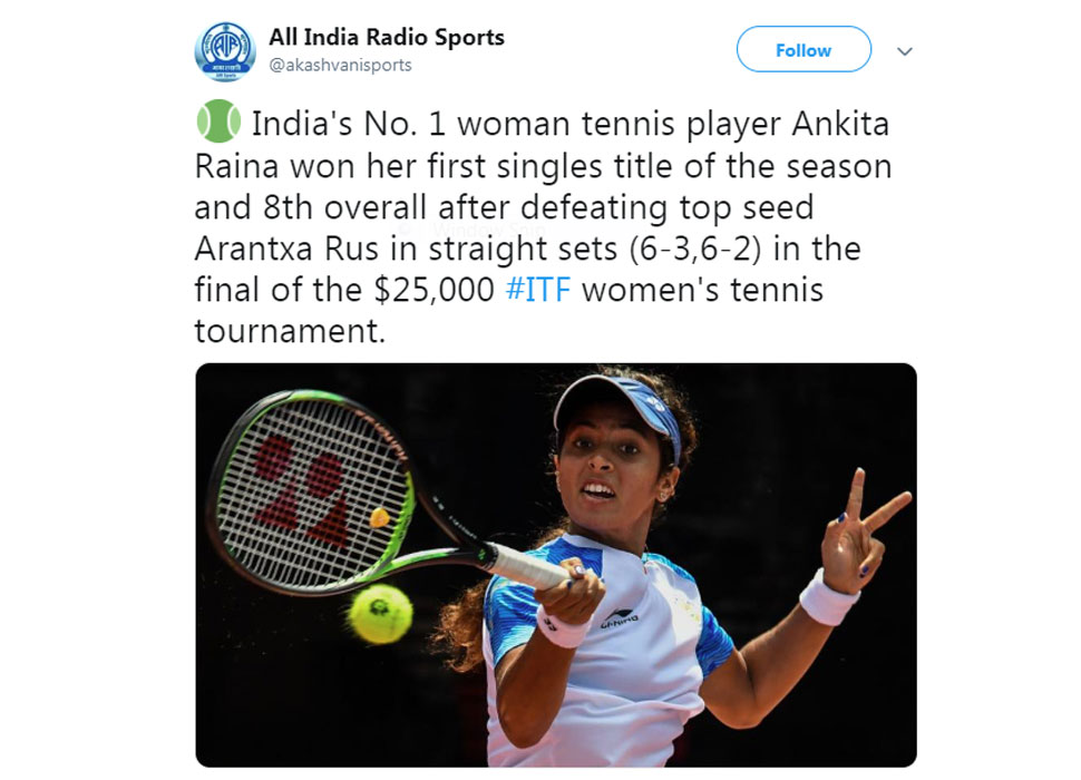 Ankita Raina wins Singapore ITF Tournament
