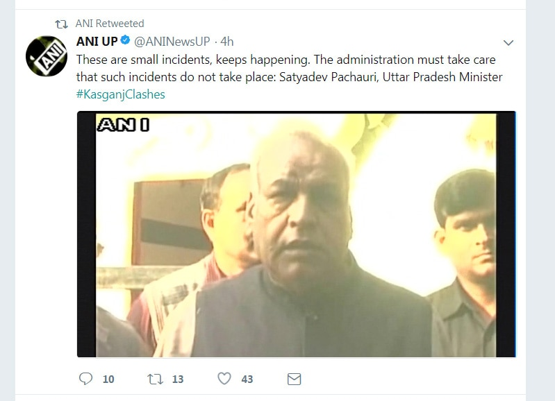 kasganj violence, UP Minister Satyadev Pachauri, Chandan Gupta