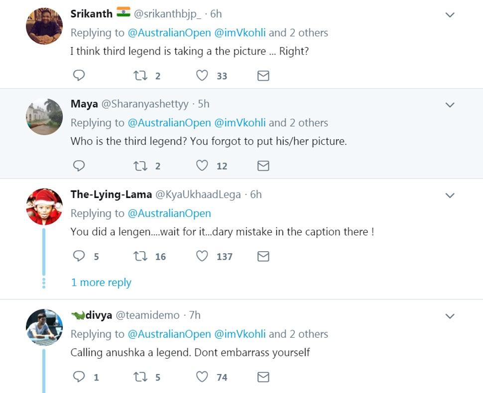 Virat Kohli, Anushka Sharma, Roger Fedrer,