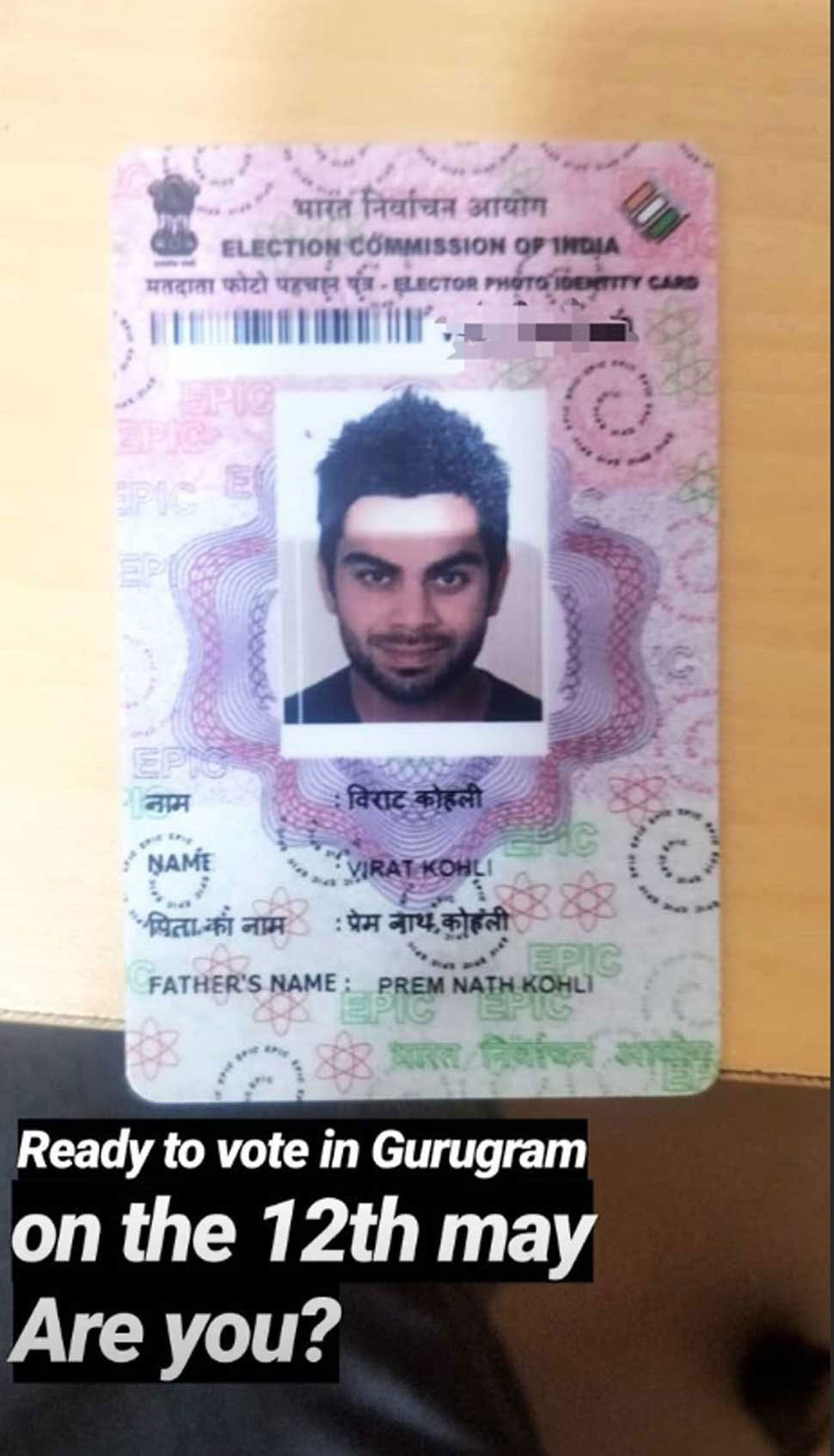 Virat insta post on Voter Id