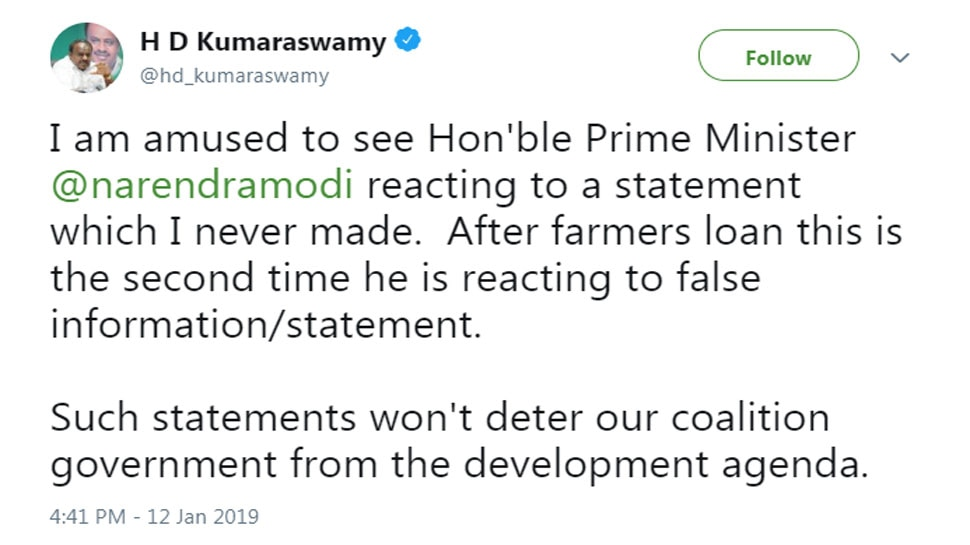 PM reacting to a statement I never made, says Kumaraswamy