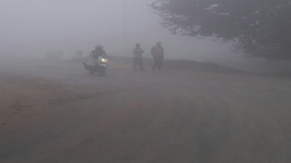 smog in Uttar Pradesh's Jalaun, in the early morning hours of Saturday