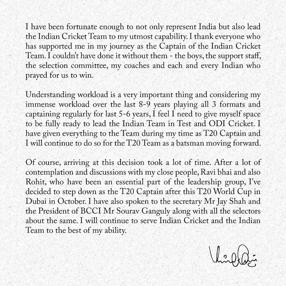 Virat Kohli quits captaincy
