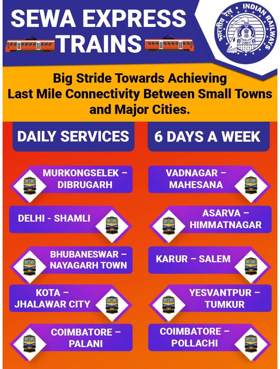 भारतीय रेलवे, Indian Railways, Sewa Express trains, 10 Sewa Express