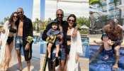 hardik pandya and natasa stankovic enjoy first day on pool with baby boy agastya