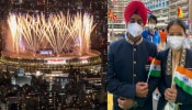 Tokyo olympics Opening Ceremony beautiful pictures indian athletes Manpreet Singh and Mary Kom lead out India