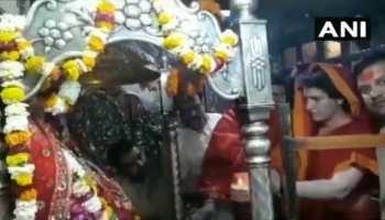 VIDEO: मंदिर में पूजा कर रही थीं प्रियंका गांधी, बाहर लग रहे थे 'मोदी-मोदी' के नारे