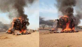 राजस्थान: गाड़ी में अचानक लगी भीषण आग, चंद मिनटों में हुई खाक
