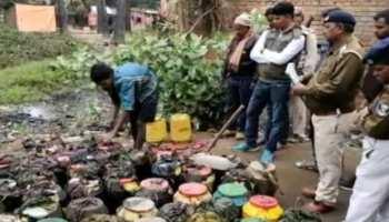 मुंगेर: 810 लीटर कच्ची शराब नष्ट, महिला सहित 4 लोग गिरफ्तार
