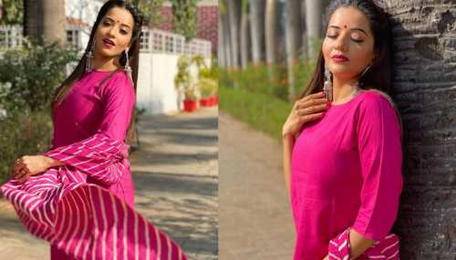 Monalisa got her latest photoshoot in pink salwar suit photos viral on social media