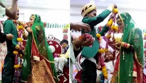 जयमाला में दूल्हा-दुल्हन का बच्चे बना रहे मजाक, लोग बोले- लंगूर के हाथ में अंगूर; देखें Video