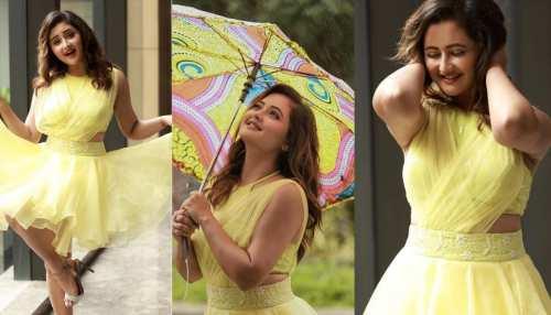 rashami desai shares her cute photos in yellow color short dress